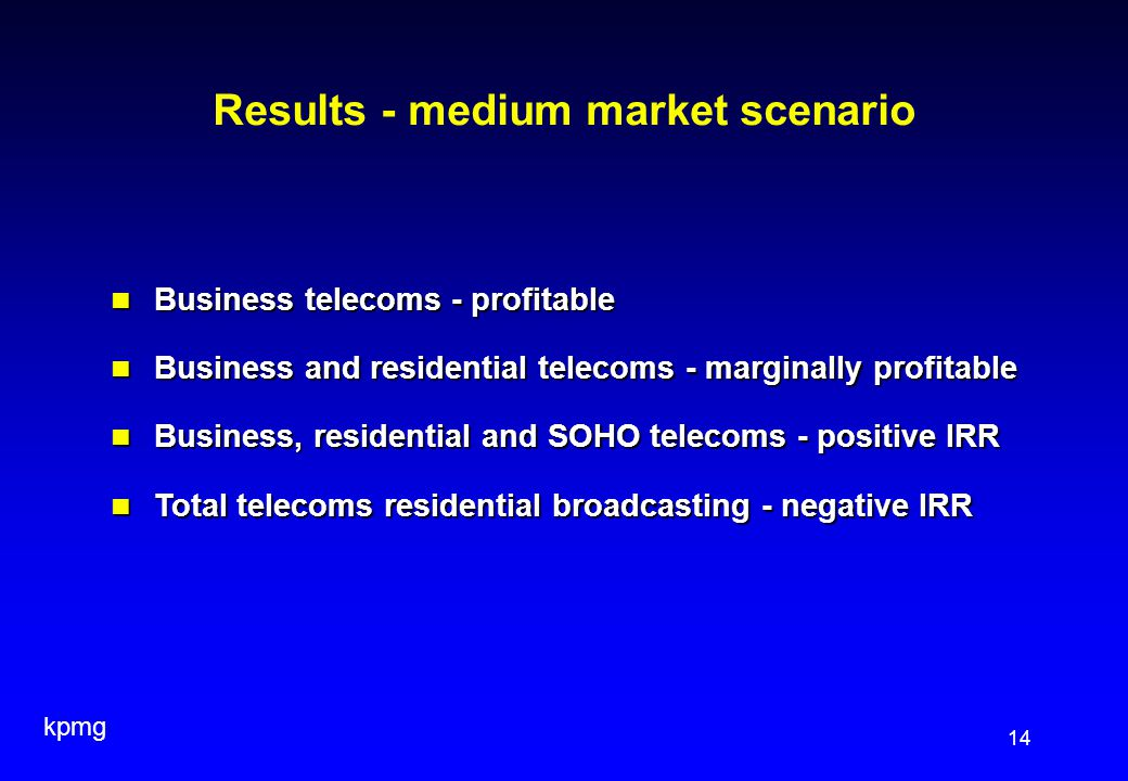 kpmg 14 Results - medium market scenario Business telecoms - profitable Business telecoms - profitable Business and residential telecoms - marginally