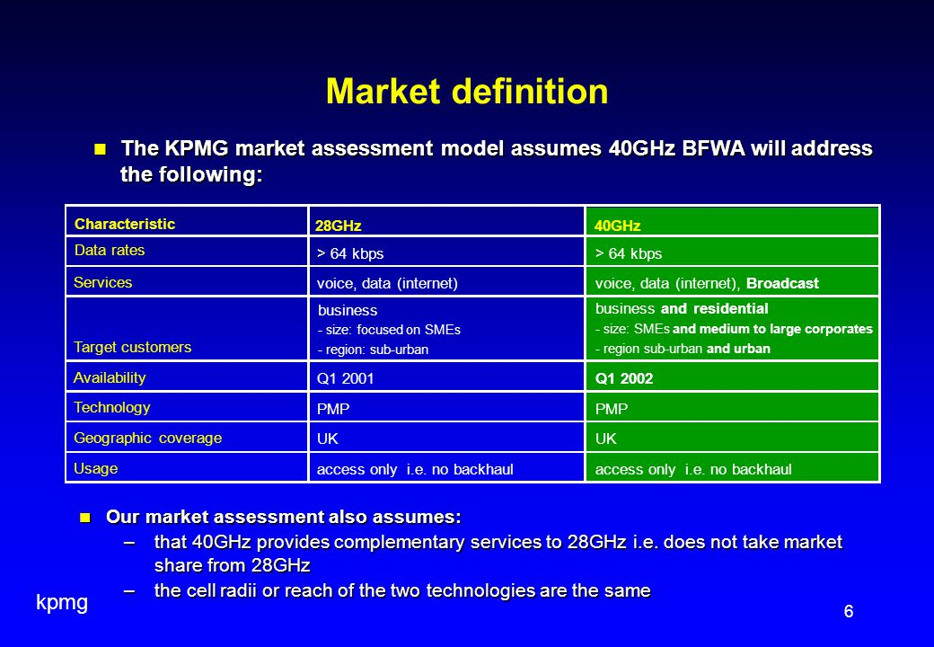 kpmg 6 Market definition 28GHz40GHz Data rates > 64 kbps Services voice, data (internet)voice, data (internet), Broadcast Target customers business and residential - size: SMEs and medium to large corporates - region sub-urban and urban Availability Q1 2001Q1 2002 Technology PMP Geographic coverage UK Usage access only i.e.