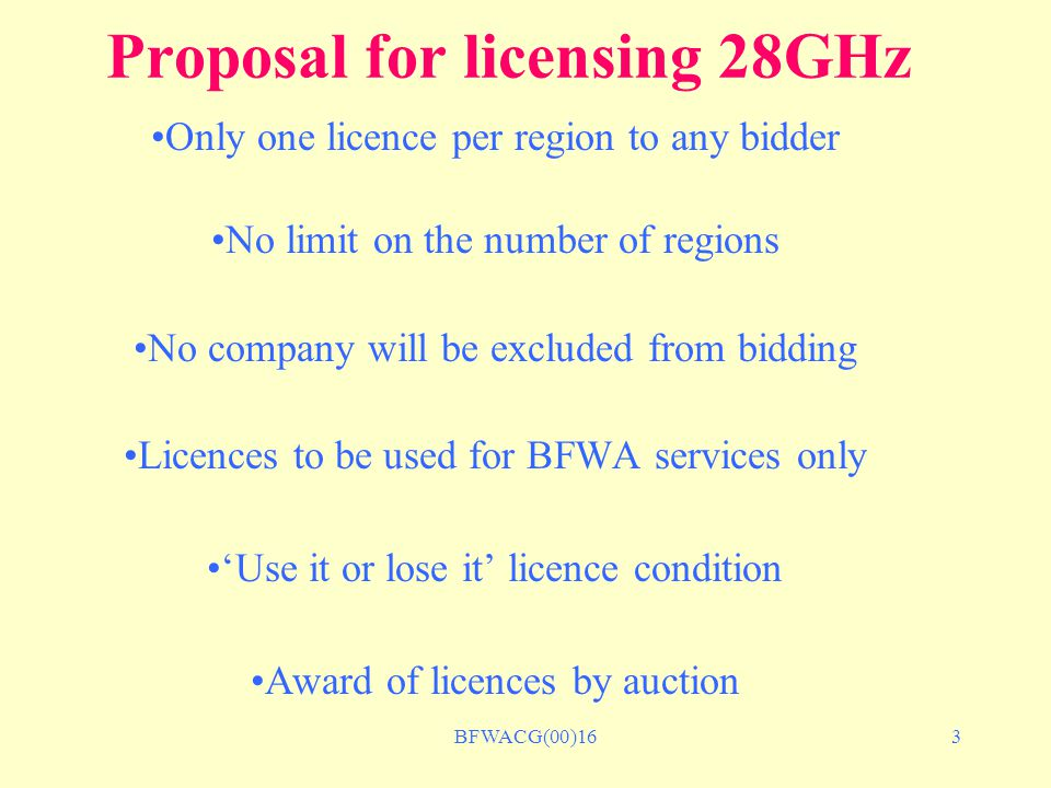 BFWACG(00)164 Next Steps Easter Submission to Ministers - announce decision April/May Industry consultation on final options paper End of July Invite applications for licences September Hold auction