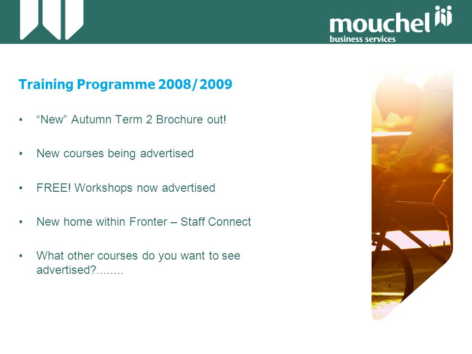 Training Programme 2008/2009 New Autumn Term 2 Brochure out.