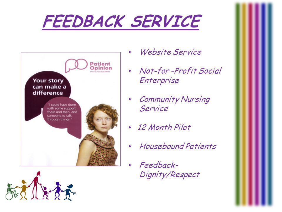 FEEDBACK SERVICE Website Service Not-for –Profit Social Enterprise Community Nursing Service 12 Month Pilot Housebound Patients Feedback- Dignity/Respect