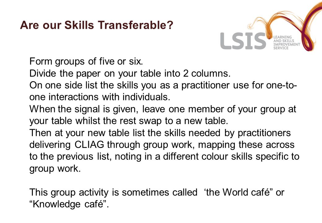 Are our Skills Transferable. Form groups of five or six.