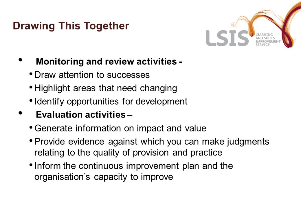 Drawing This Together Monitoring and review activities - Draw attention to successes Highlight areas that need changing Identify opportunities for dev
