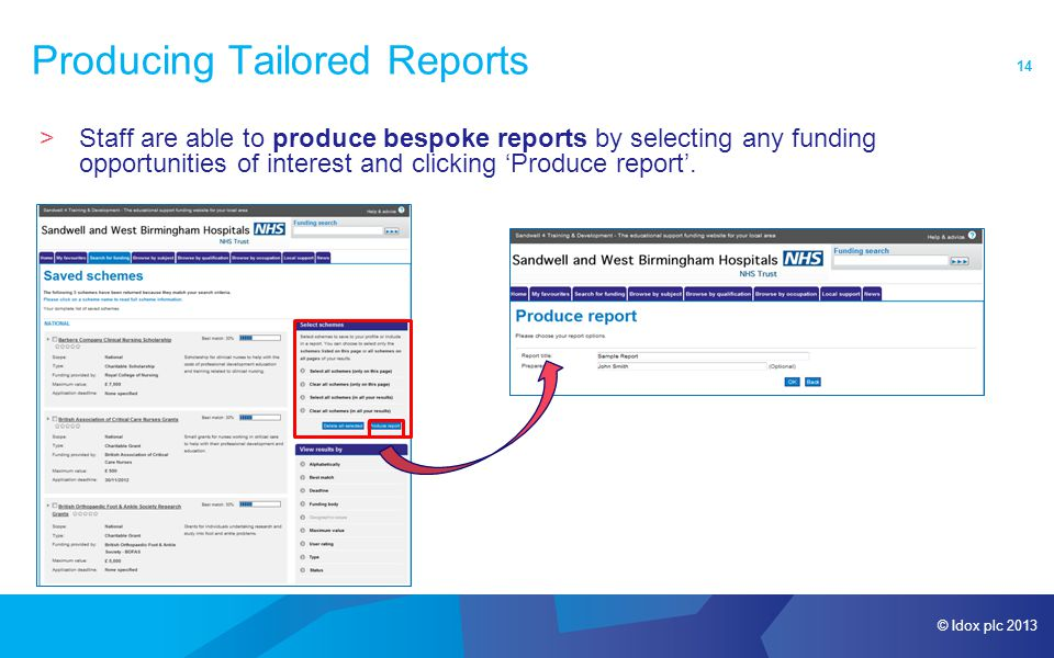 © Idox plc 2013 14 Producing Tailored Reports >Staff are able to produce bespoke reports by selecting any funding opportunities of interest and clicking 'Produce report'.