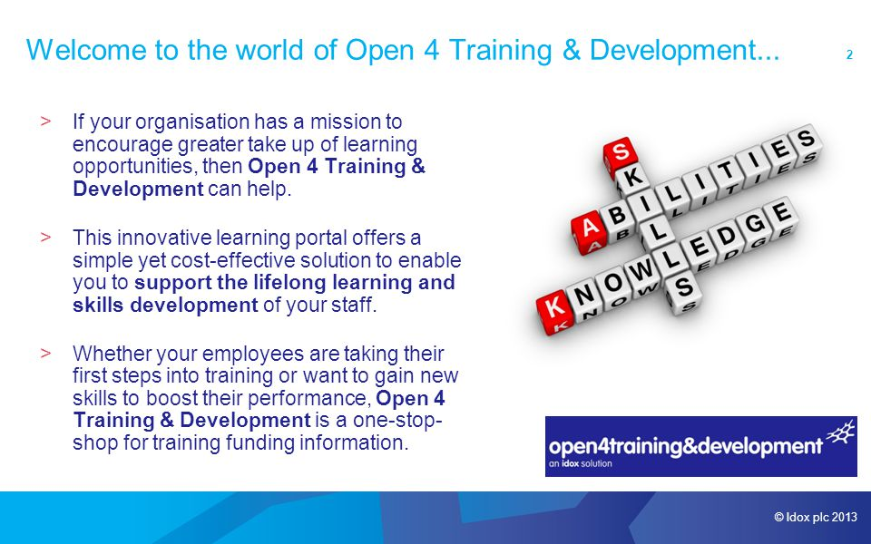 © Idox plc 2013 2 Welcome to the world of Open 4 Training & Development...