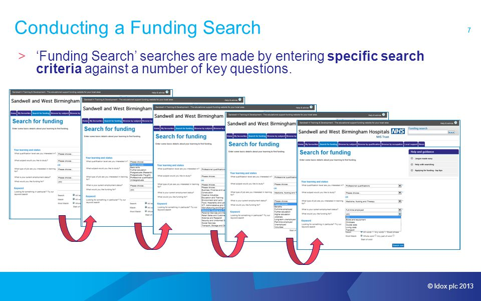 © Idox plc 2013 8 Conducting a Funding Search >Once a user has answered all questions or conducted a Keyword Search (entering specific words or phrases), they simply have to click 'Search now'.
