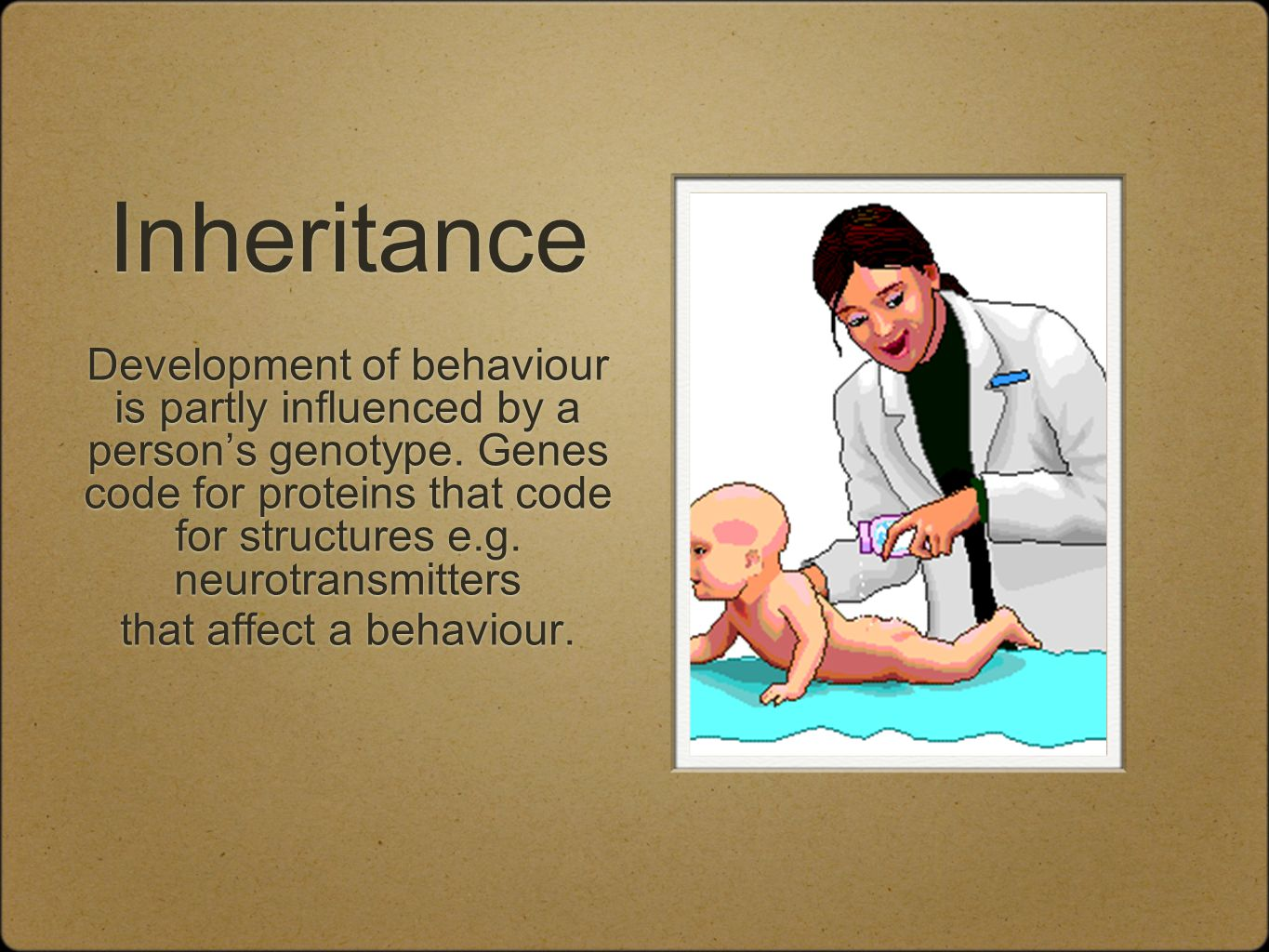 Inheritance Development of behaviour is partly influenced by a person's genotype.