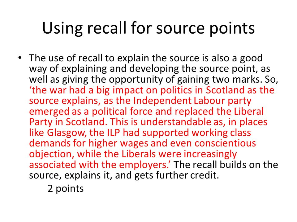 COMPARISON Must include an OVERALL COMPARISON This is more than a simple 'Sources A and B agree about the impact of the war on the Scottish economy to a certain extent.' Some basic identification of the areas of difference and similarity needs to be built into the overall comparison.
