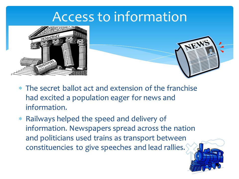  The secret ballot act and extension of the franchise had excited a population eager for news and information.  Railways helped the speed and delive
