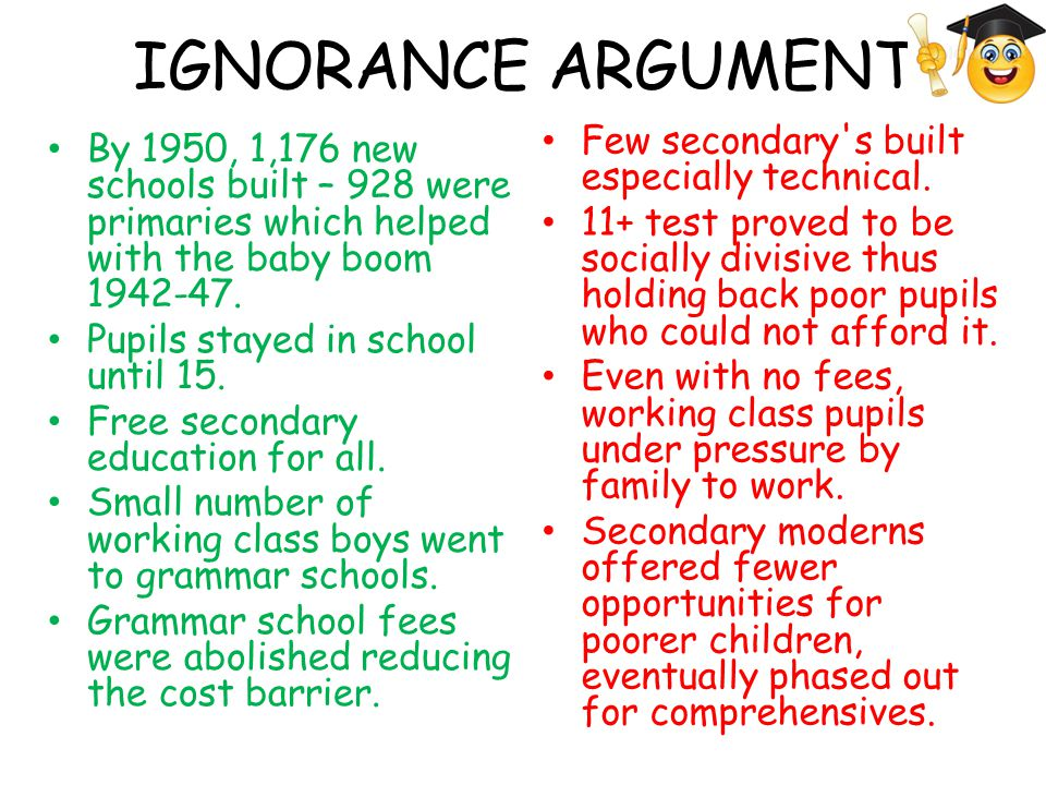 IGNORANCE ARGUMENT By 1950, 1,176 new schools built – 928 were primaries which helped with the baby boom 1942-47. Pupils stayed in school until 15. Fr