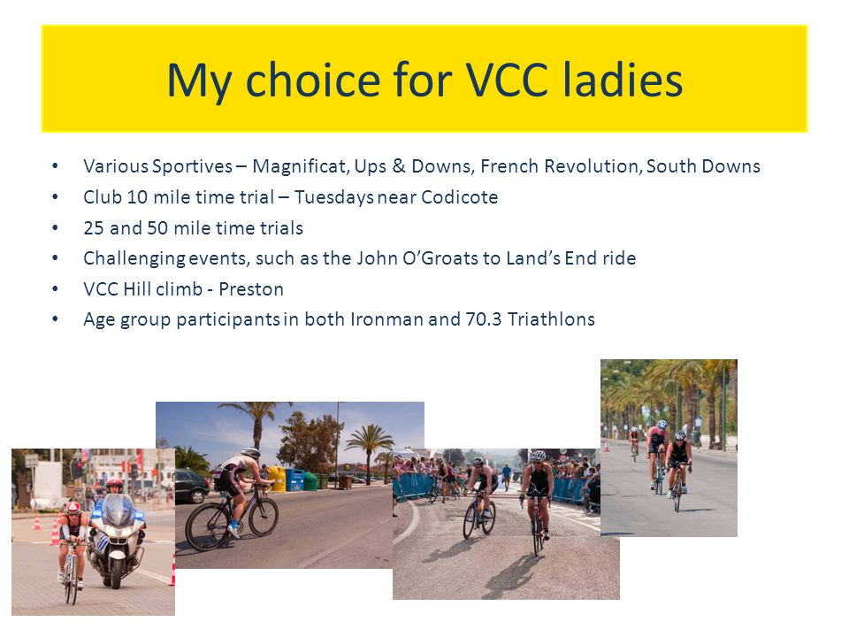 Future topics/sessions Future topics for ladies evenings could include Basic maintenance, practical sessions on how to change an inner tube.