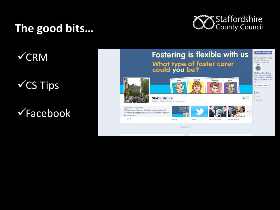 The good bits… CRM CS Tips Facebook