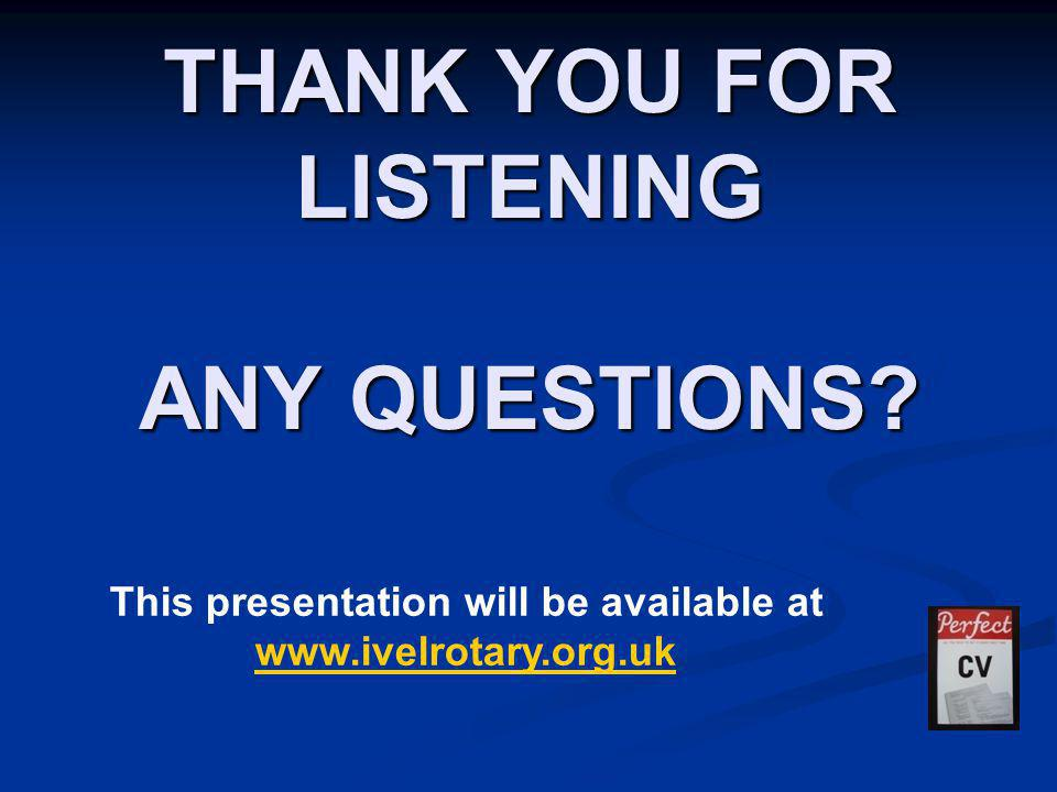 THANK YOU FOR LISTENING ANY QUESTIONS.