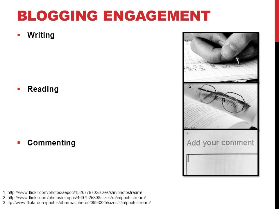 BLOGGING ENGAGEMENT  Writing  Reading  Commenting 1.