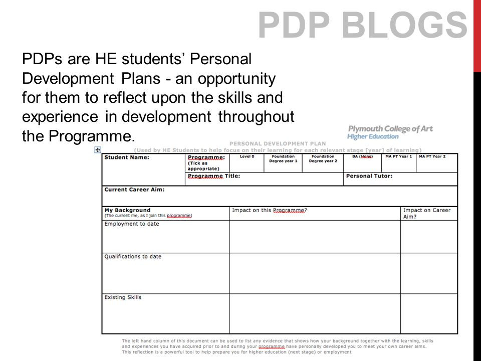 PDP BLOGS PDPs are HE students' Personal Development Plans - an opportunity for them to reflect upon the skills and experience in development throughout the Programme.