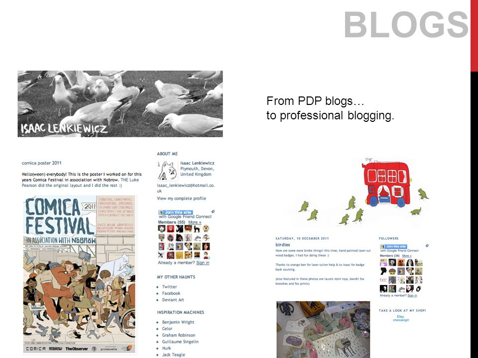 BLOGS From PDP blogs… to professional blogging.