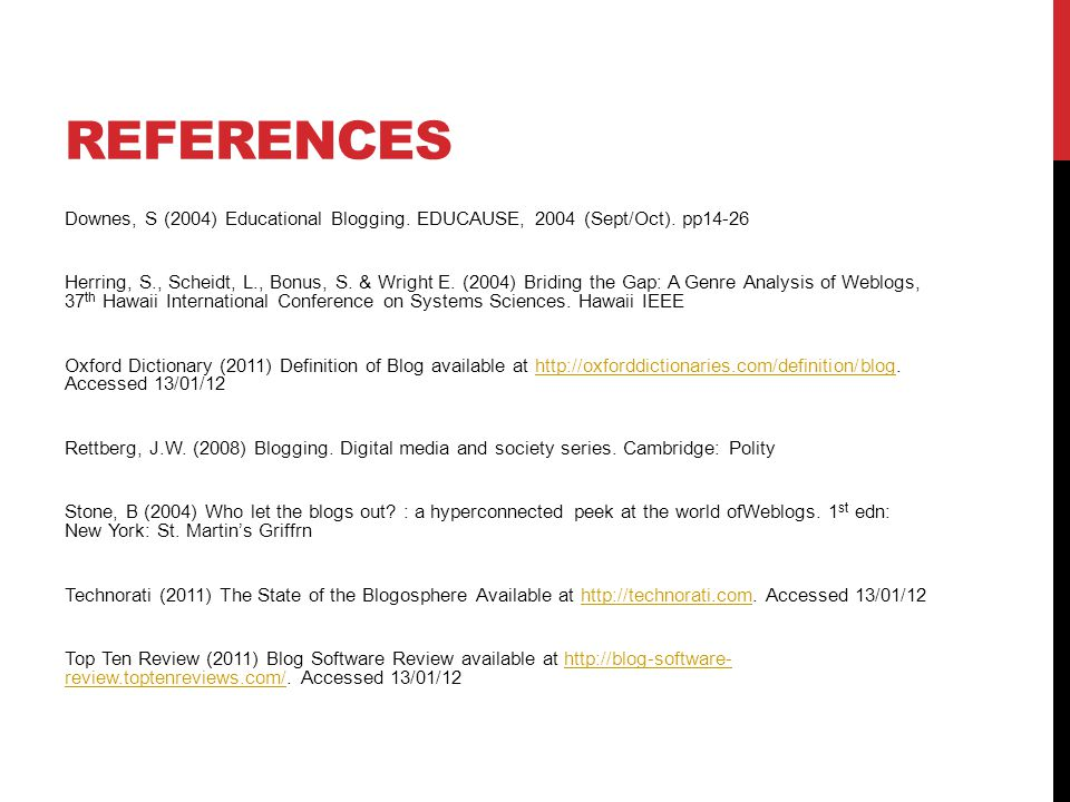 REFERENCES Downes, S (2004) Educational Blogging. EDUCAUSE, 2004 (Sept/Oct).