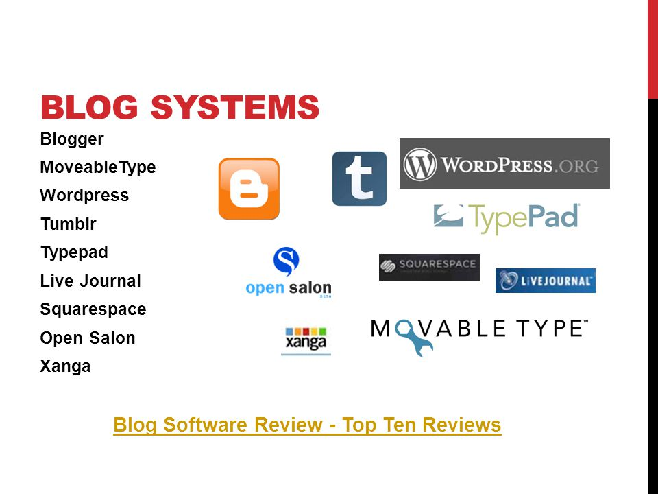 BLOG SYSTEMS Blogger MoveableType Wordpress Tumblr Typepad Live Journal Squarespace Open Salon Xanga Blog Software Review - Top Ten Reviews