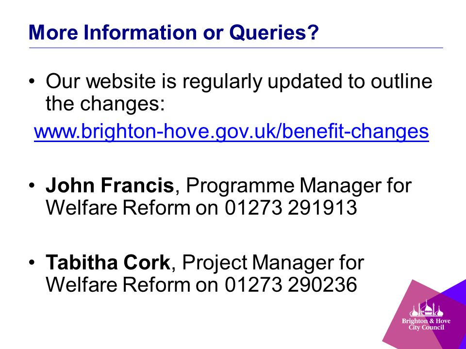 More Information or Queries? Our website is regularly updated to outline the changes: www.brighton-hove.gov.uk/benefit-changes John Francis, Programme