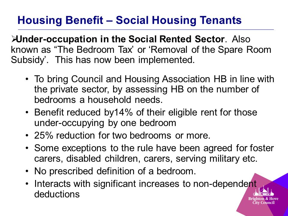 """Housing Benefit – Social Housing Tenants  Under-occupation in the Social Rented Sector. Also known as """"The Bedroom Tax' or 'Removal of the Spare Room"""