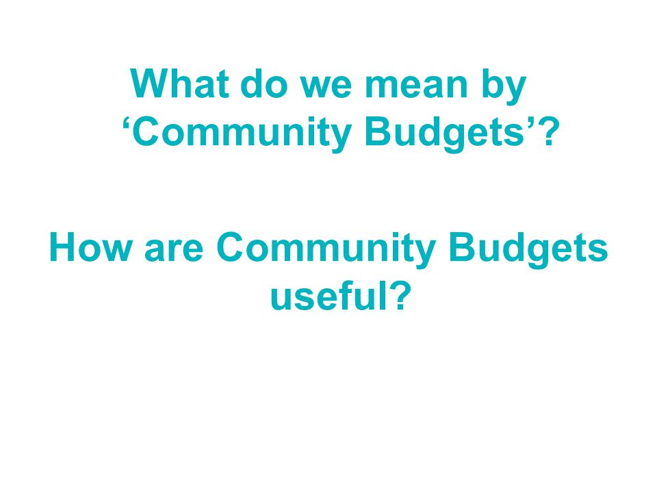 What do we mean by 'Community Budgets' How are Community Budgets useful