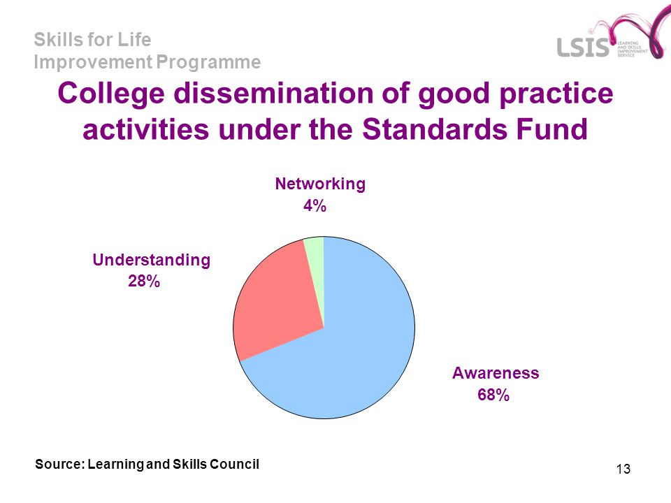 Skills for Life Improvement Programme 13 College dissemination of good practice activities under the Standards Fund Understanding 28% Networking 4% Aw