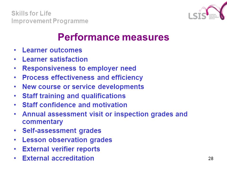 Skills for Life Improvement Programme 28 Performance measures Learner outcomes Learner satisfaction Responsiveness to employer need Process effectiven