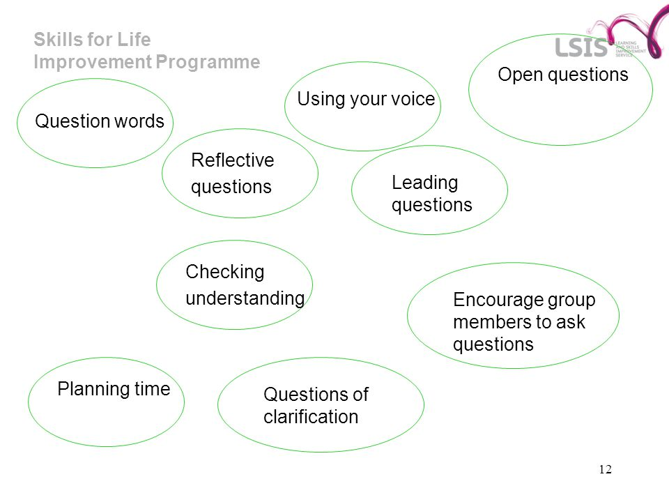 Skills for Life Improvement Programme 12 Open questions Using your voice Question words Reflective questions Leading questions Checking understanding Questions of clarification Planning time Encourage group members to ask questions