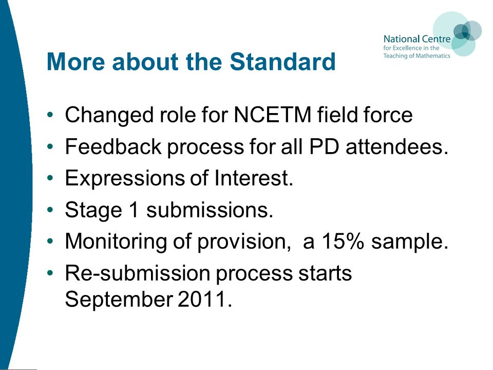 More about the Standard Changed role for NCETM field force Feedback process for all PD attendees. Expressions of Interest. Stage 1 submissions. Monito