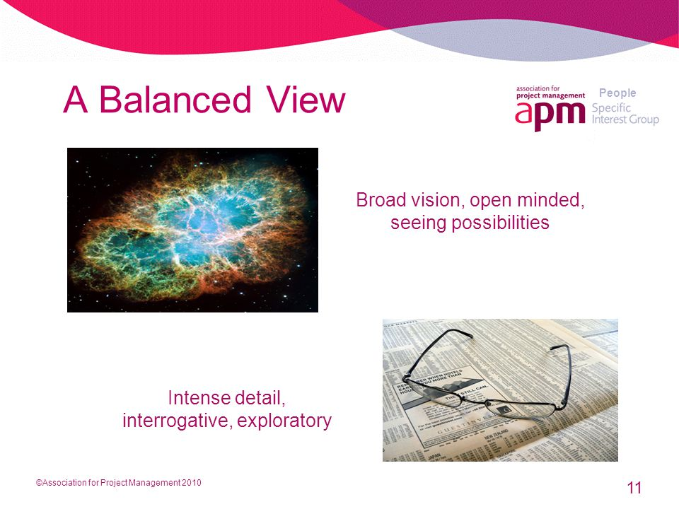People A Balanced View 11 Broad vision, open minded, seeing possibilities Intense detail, interrogative, exploratory ©Association for Project Management 2010