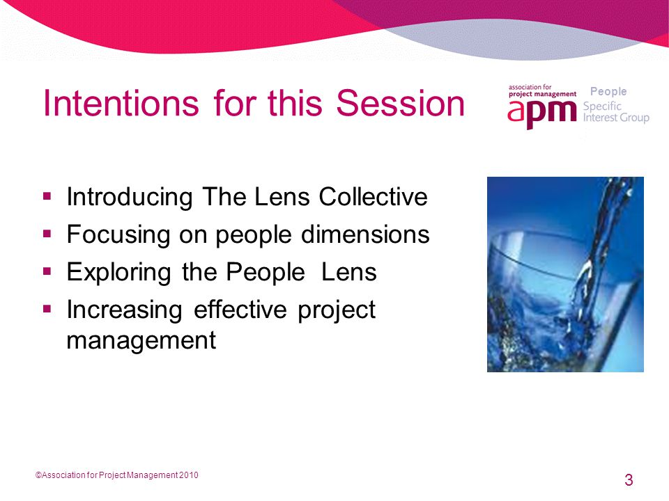 People Intentions for this Session  Introducing The Lens Collective  Focusing on people dimensions  Exploring the People Lens  Increasing effective project management 3 ©Association for Project Management 2010