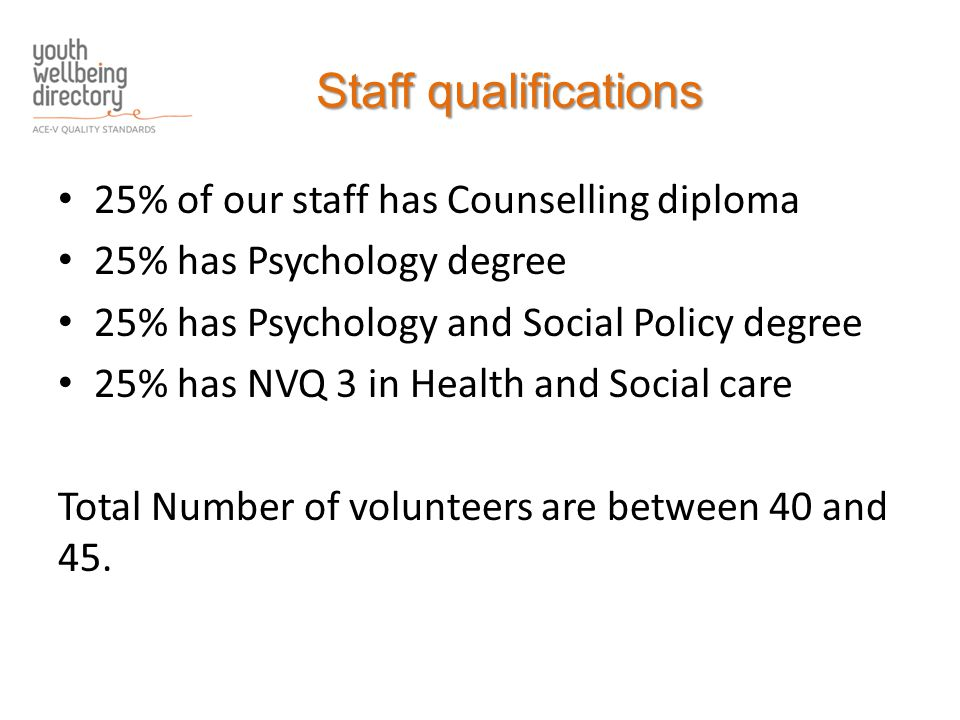 Staff qualifications 25% of our staff has Counselling diploma 25% has Psychology degree 25% has Psychology and Social Policy degree 25% has NVQ 3 in Health and Social care Total Number of volunteers are between 40 and 45.