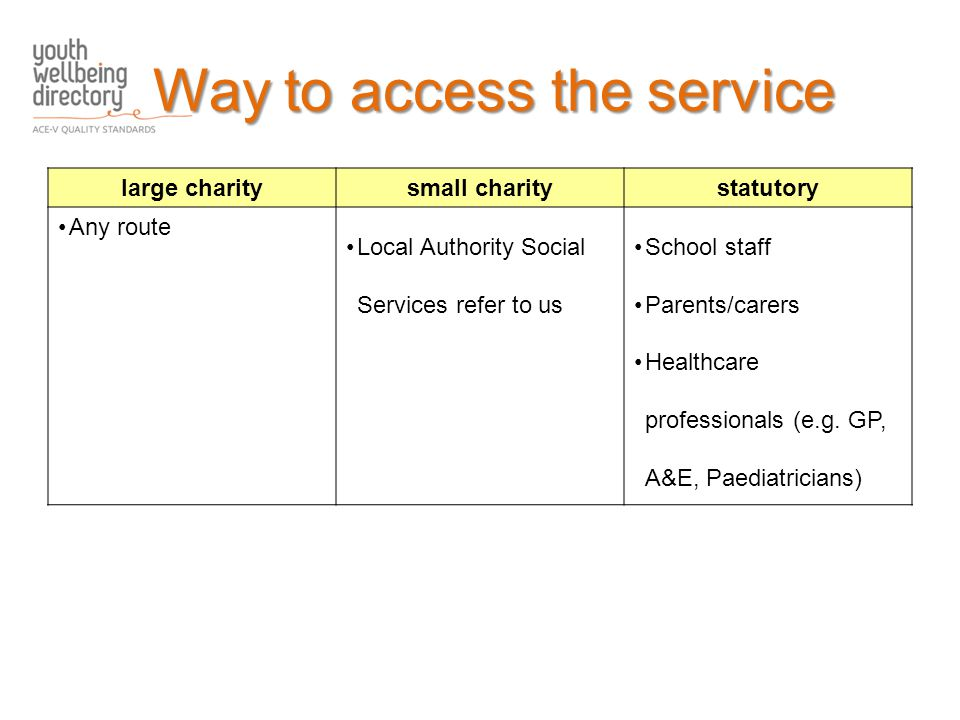 large charitysmall charitystatutory Any route Local Authority Social Services refer to us School staff Parents/carers Healthcare professionals (e.g.