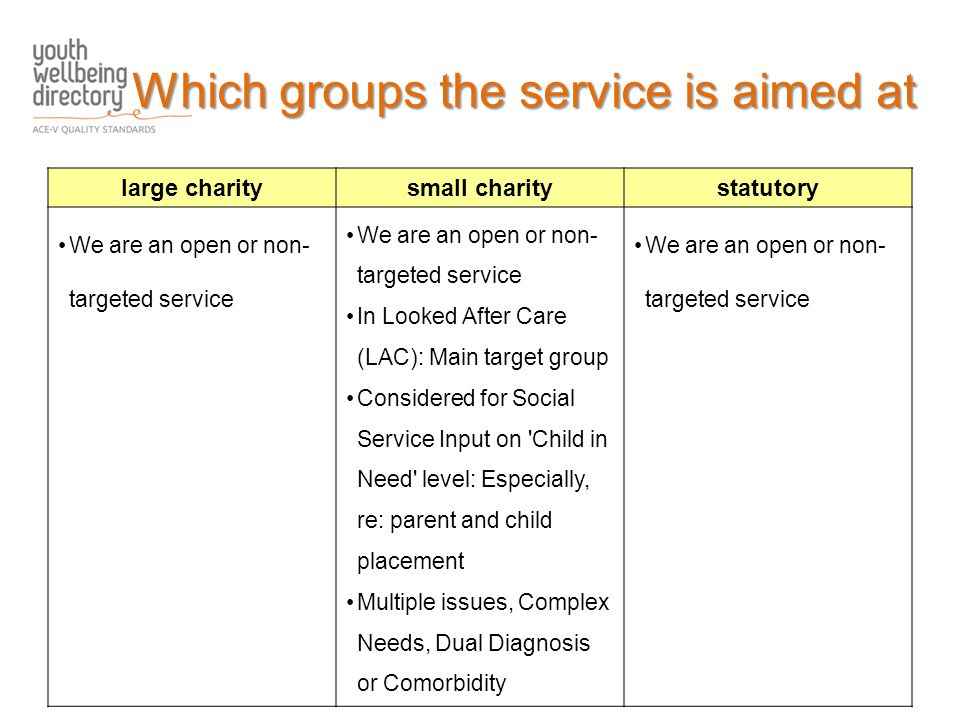 large charitysmall charitystatutory We are an open or non- targeted service In Looked After Care (LAC): Main target group Considered for Social Service Input on Child in Need level: Especially, re: parent and child placement Multiple issues, Complex Needs, Dual Diagnosis or Comorbidity We are an open or non- targeted service Which groups the service is aimed at