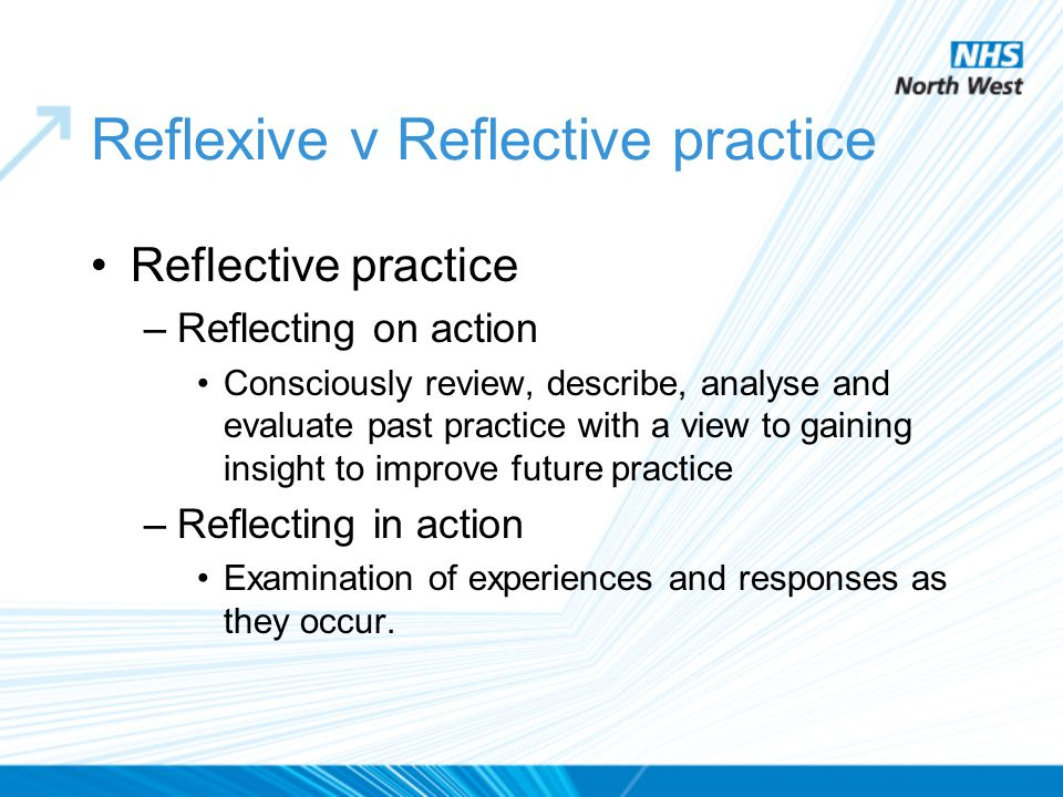 Reflexive v Reflective practice Reflective practice –Reflecting on action Consciously review, describe, analyse and evaluate past practice with a view