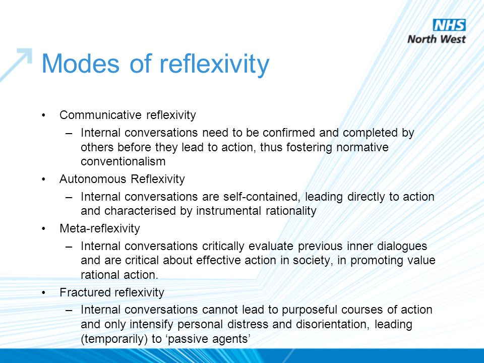 Modes of reflexivity Communicative reflexivity –Internal conversations need to be confirmed and completed by others before they lead to action, thus f