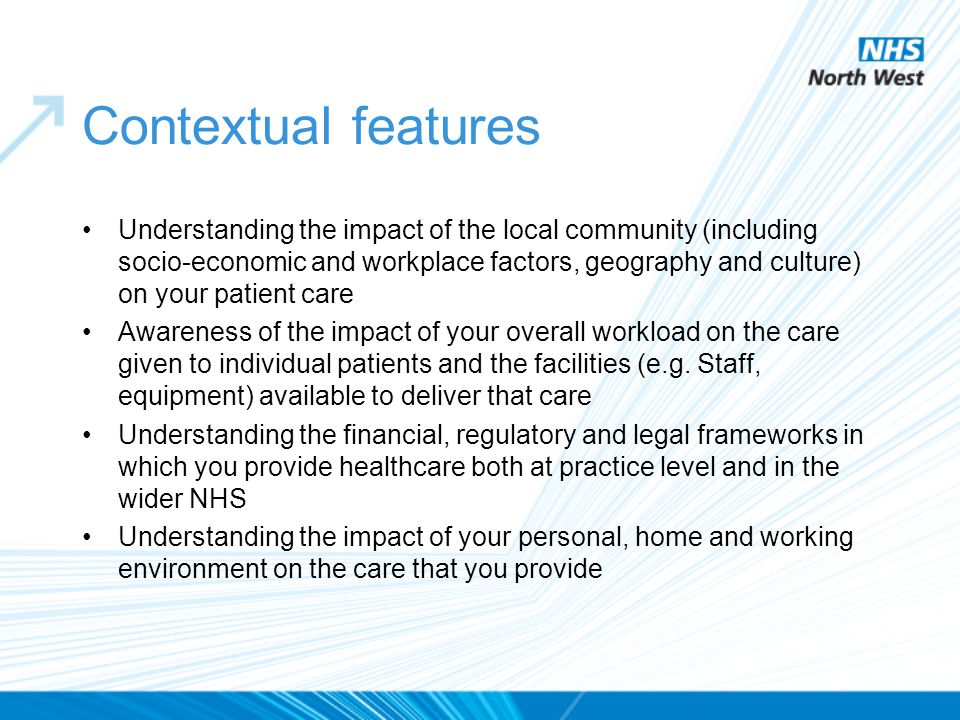 Contextual features Understanding the impact of the local community (including socio-economic and workplace factors, geography and culture) on your pa