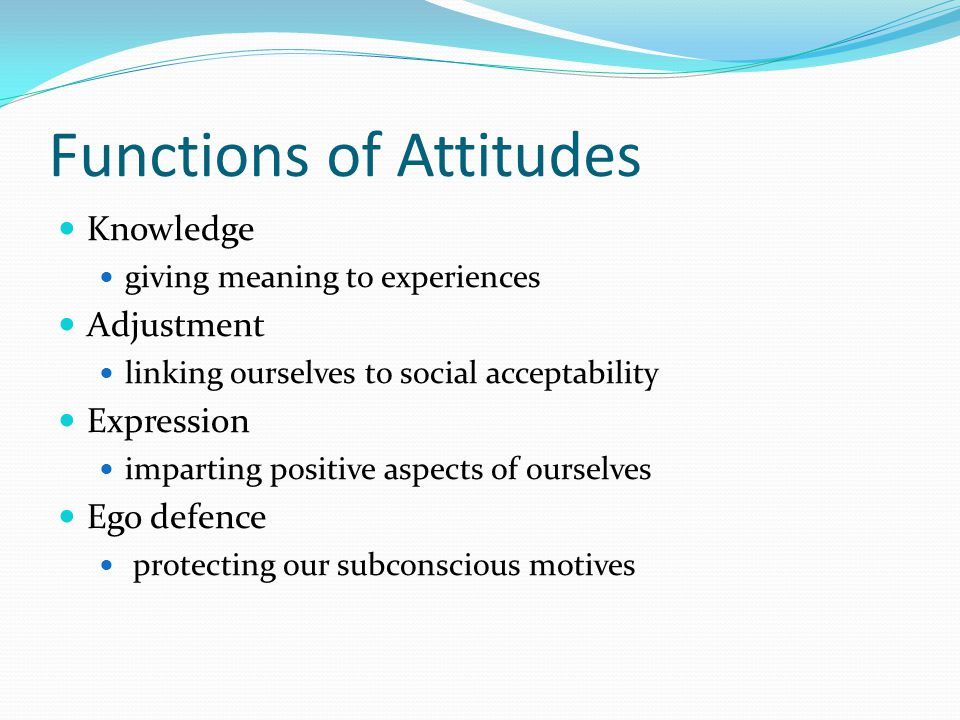 Functions of Attitudes Knowledge giving meaning to experiences Adjustment linking ourselves to social acceptability Expression imparting positive aspects of ourselves Ego defence protecting our subconscious motives