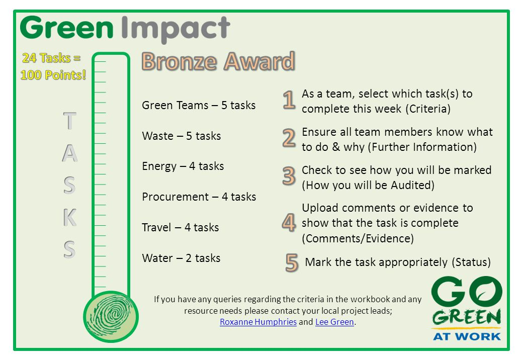 Green Teams – 5 tasks Waste – 5 tasks Energy – 4 tasks Procurement – 4 tasks Travel – 4 tasks Water – 2 tasks As a team, select which task(s) to complete this week (Criteria) Check to see how you will be marked (How you will be Audited) Ensure all team members know what to do & why (Further Information) Upload comments or evidence to show that the task is complete (Comments/Evidence) Mark the task appropriately (Status) If you have any queries regarding the criteria in the workbook and any resource needs please contact your local project leads; Roxanne Humphries and Lee Green.