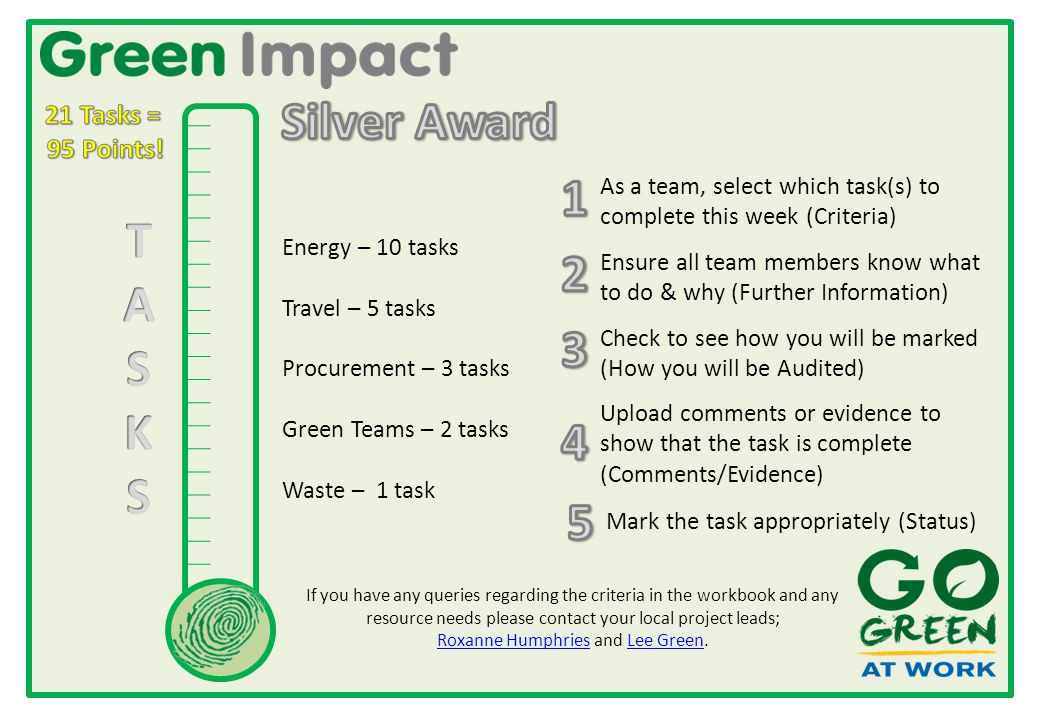 Energy – 10 tasks Travel – 5 tasks Procurement – 3 tasks Green Teams – 2 tasks Waste – 1 task As a team, select which task(s) to complete this week (Criteria) Check to see how you will be marked (How you will be Audited) Ensure all team members know what to do & why (Further Information) Upload comments or evidence to show that the task is complete (Comments/Evidence) Mark the task appropriately (Status) If you have any queries regarding the criteria in the workbook and any resource needs please contact your local project leads; Roxanne Humphries and Lee Green.