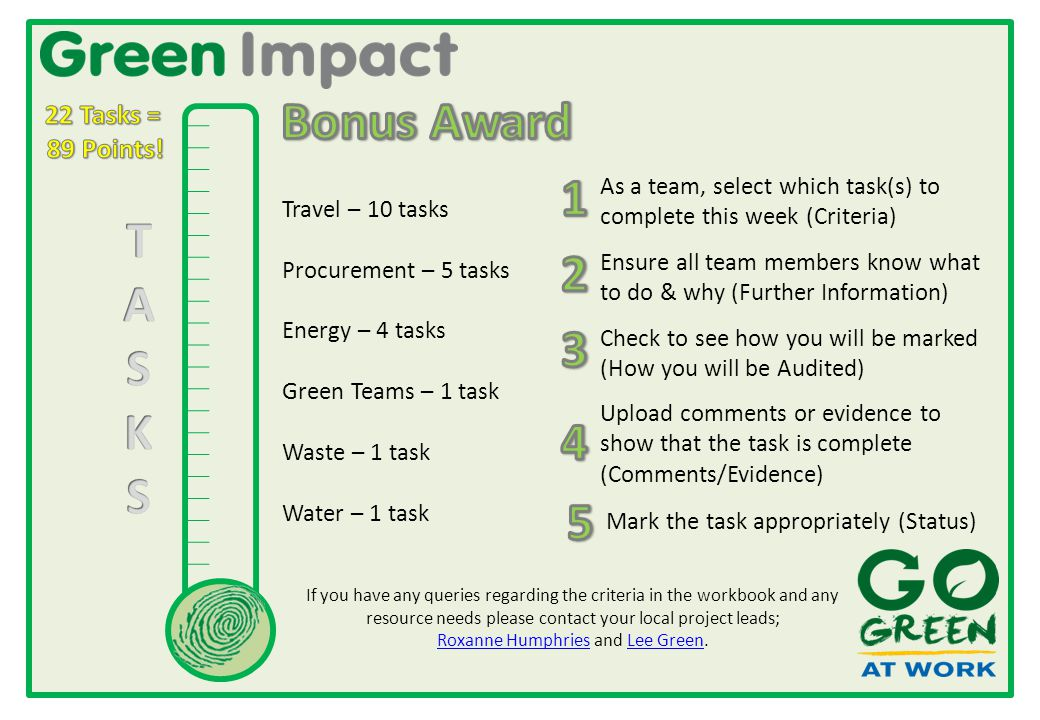 Travel – 10 tasks Procurement – 5 tasks Energy – 4 tasks Green Teams – 1 task Waste – 1 task Water – 1 task As a team, select which task(s) to complete this week (Criteria) Check to see how you will be marked (How you will be Audited) Ensure all team members know what to do & why (Further Information) Upload comments or evidence to show that the task is complete (Comments/Evidence) Mark the task appropriately (Status) If you have any queries regarding the criteria in the workbook and any resource needs please contact your local project leads; Roxanne Humphries and Lee Green.
