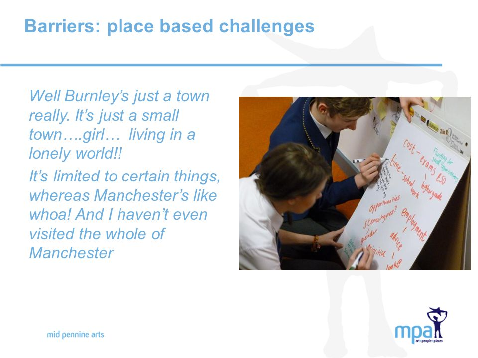Barriers: place based challenges Well Burnley's just a town really.