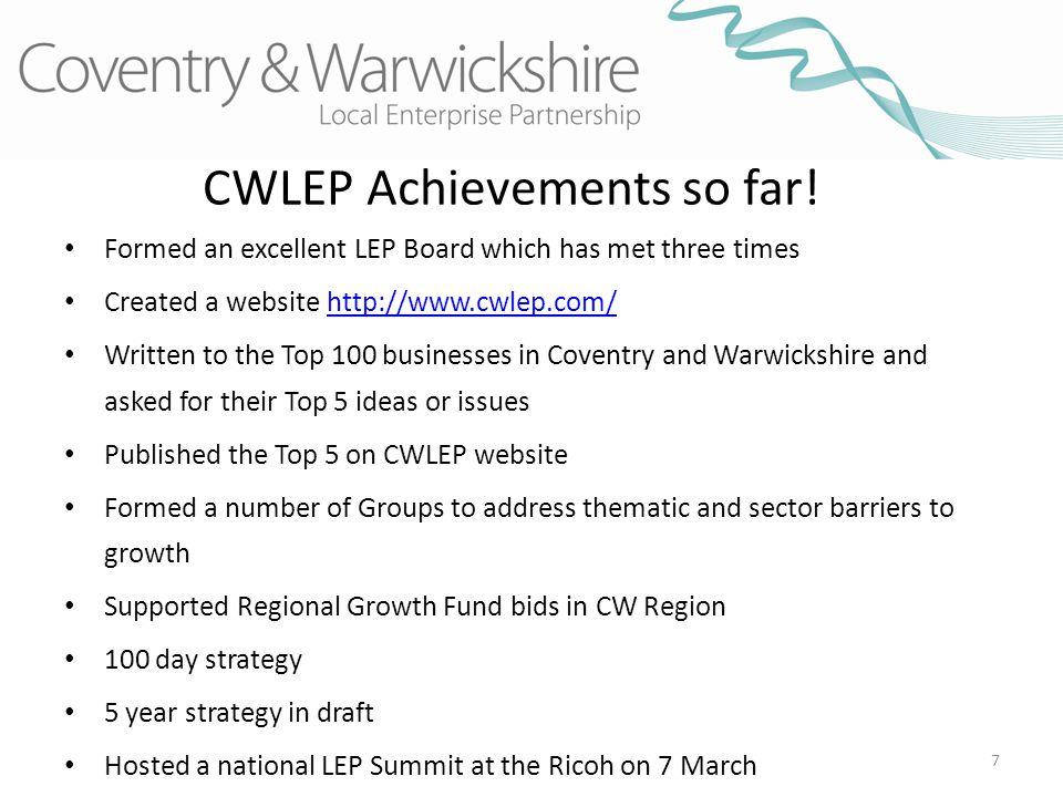 7 CWLEP Achievements so far.