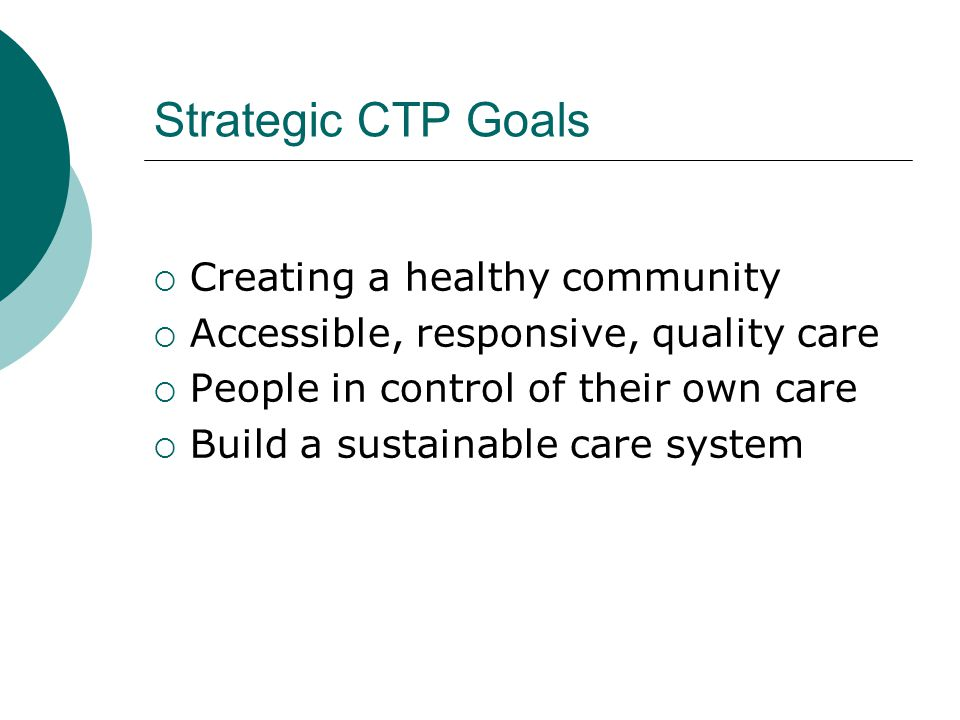 Strategic CTP Goals  Creating a healthy community  Accessible, responsive, quality care  People in control of their own care  Build a sustainable care system