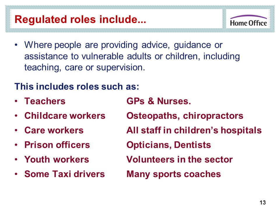 Regulated roles include...