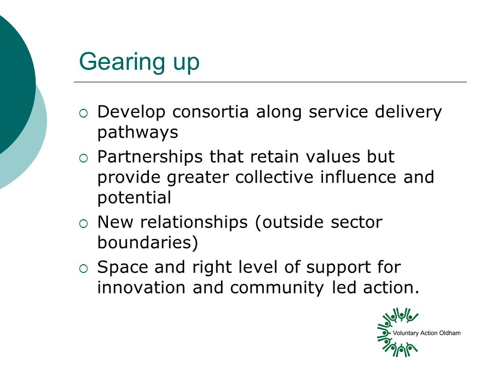 Gearing up  Develop consortia along service delivery pathways  Partnerships that retain values but provide greater collective influence and potential  New relationships (outside sector boundaries)  Space and right level of support for innovation and community led action.