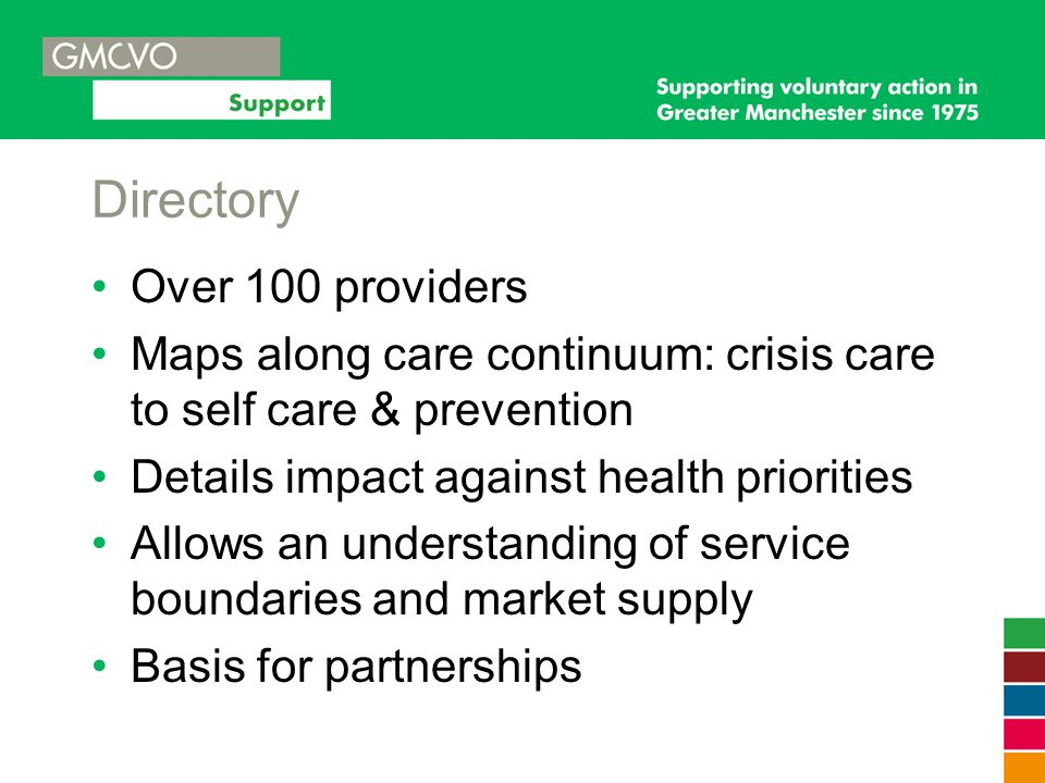 Directory Over 100 providers Maps along care continuum: crisis care to self care & prevention Details impact against health priorities Allows an under