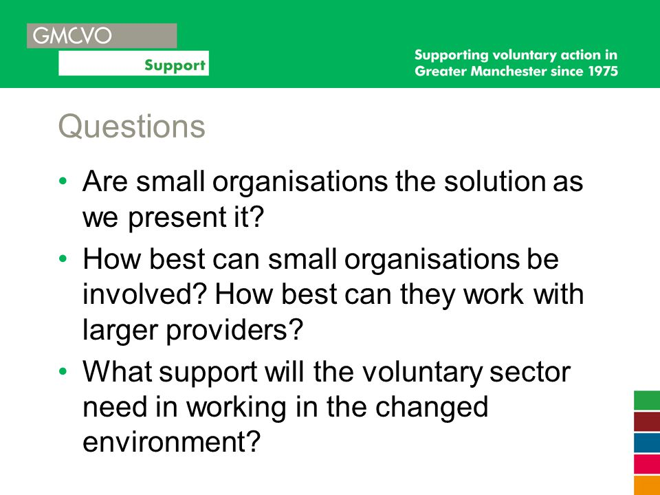 Questions Are small organisations the solution as we present it? How best can small organisations be involved? How best can they work with larger prov