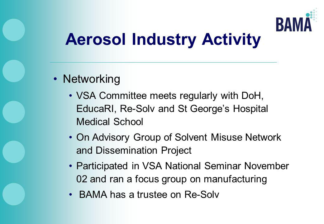 Aerosol Industry Activity Networking VSA Committee meets regularly with DoH, EducaRI, Re-Solv and St George's Hospital Medical School On Advisory Group of Solvent Misuse Network and Dissemination Project Participated in VSA National Seminar November 02 and ran a focus group on manufacturing BAMA has a trustee on Re-Solv