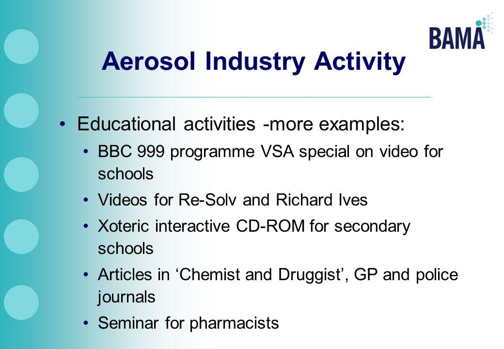 Aerosol Industry Activity Educational activities -more examples: BBC 999 programme VSA special on video for schools Videos for Re-Solv and Richard Ives Xoteric interactive CD-ROM for secondary schools Articles in 'Chemist and Druggist', GP and police journals Seminar for pharmacists